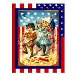 Vintage de la reproducción el 4 de julio, niños qu postales