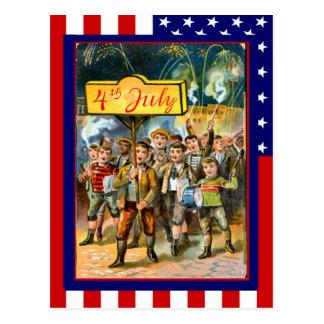 Vintage de la reproducción el 4 de julio, niños tarjeta postal