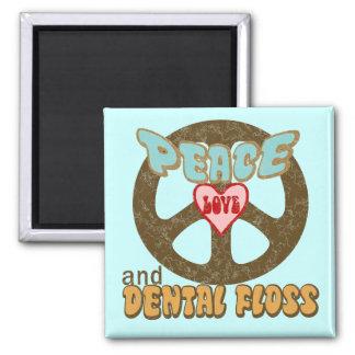 Vintage de la seda dental del amor de la paz imán cuadrado