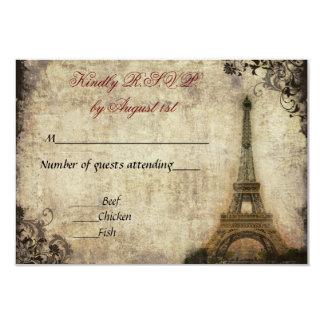 """Vintage de la torre Eiffel que casa R.S.V.P. Invitación 3.5"""" X 5"""""""