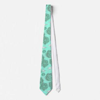 Vintage de la verde menta floral corbatas personalizadas