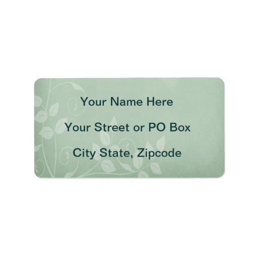 Vintage de la verde salvia etiqueta de dirección