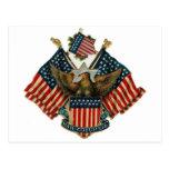 Vintage de las banderas de los E.E.U.U. Eagle amer Postal