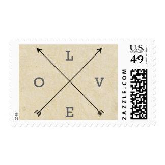 Vintage de las flechas del boda del amor rústico sellos postales