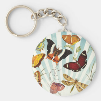 Vintage de las mariposas y de las libélulas llavero redondo tipo pin