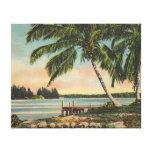 vintage de las palmeras impresión en lienzo estirada