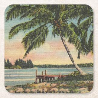vintage de las palmeras posavasos de cartón cuadrado