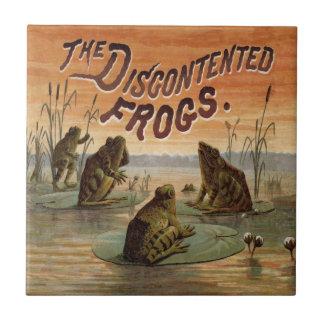 Vintage de las ranas y de los cojines de lirio teja  ceramica