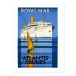 Vintage de las travesías de Royal Mail la Atlántid Tarjeta Postal