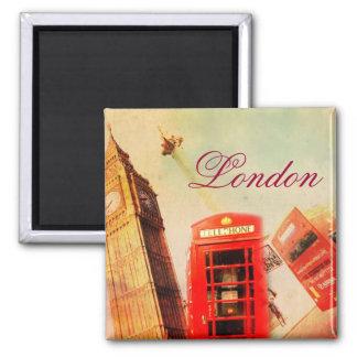 Vintage de Londres Imán Cuadrado