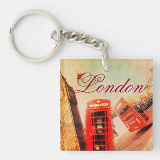 Vintage de Londres Llavero Cuadrado Acrílico A Una Cara