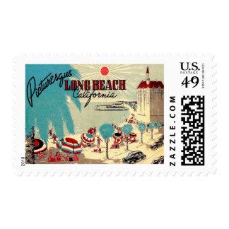 Vintage de Long Beach pintoresca, California Timbre Postal