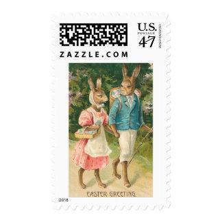 Vintage de los amores del conejito de pascua sello