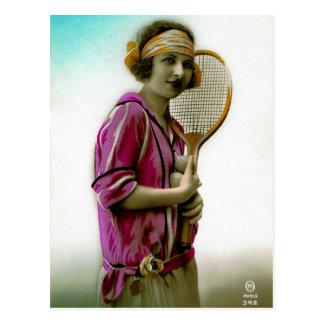 Vintage de los años 20 de la aleta del tenis del e postales