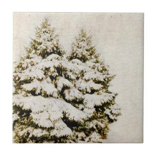 Vintage de los árboles de hoja perenne del inviern azulejo cuadrado pequeño