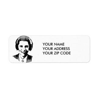 Vintage de los auriculares de Barack Obama Etiqueta De Remite