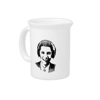 Vintage de los auriculares de Barack Obama Jarra Para Bebida