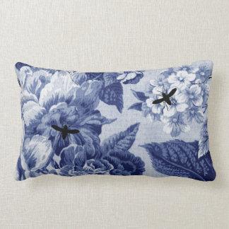 Vintage de los azules añiles botánico y insectos cojín lumbar
