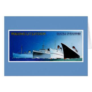 Vintage de los barcos de cruceros del cocinero de tarjeta de felicitación