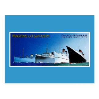 Vintage de los barcos de cruceros del cocinero de tarjetas postales