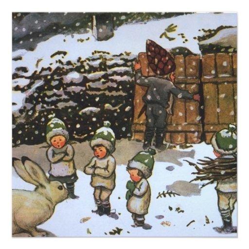 Vintage de los duendes del invierno anuncio personalizado