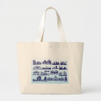 Vintage de los edificios bolsa tela grande