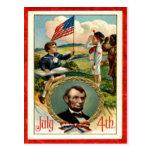 Vintage de los niños de Abraham Lincoln el 4 de ju Tarjetas Postales