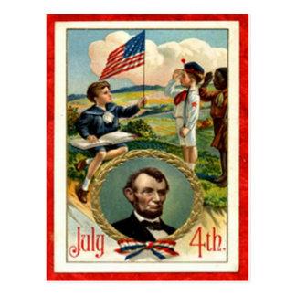 Vintage de los niños de Abraham Lincoln el 4 de Postal