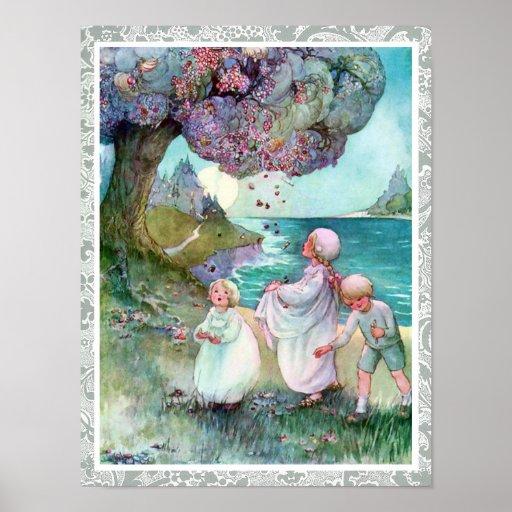 Vintage de los niños del árbol de ciruelo del azúc póster
