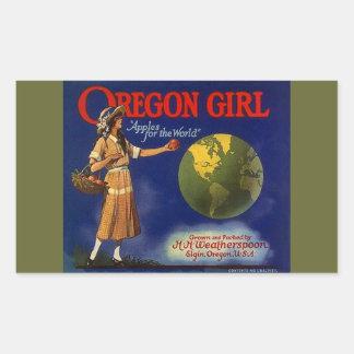 Vintage de los pegatinas que hace publicidad de rectangular pegatinas