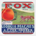 Vintage de los pegatinas que hace publicidad de pegatina cuadrada