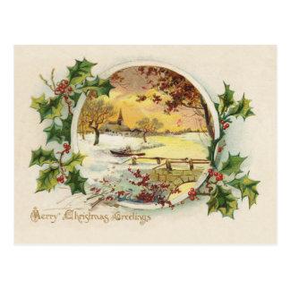 Vintage de los saludos de las Felices Navidad Postal