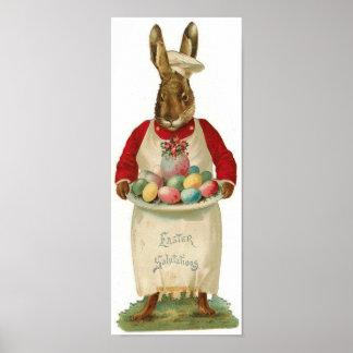 Vintage de los saludos de Pascua Póster