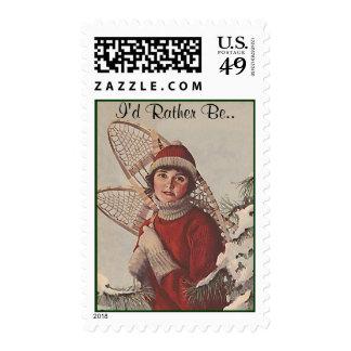 Vintage de los sellos encima del invierno del nort