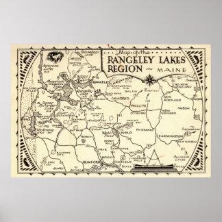 Vintage de Maine del mapa de los lagos Rangeley Poster