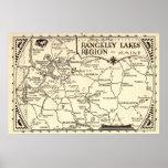 Vintage de Maine del mapa de los lagos Rangeley Póster