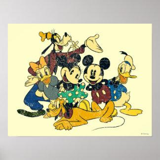 Vintage de Mickey y de los amigos el   que abraza Póster