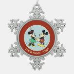 Vintage de Mickey y de Minnie el | Adorno De Peltre En Forma De Copo De Nieve