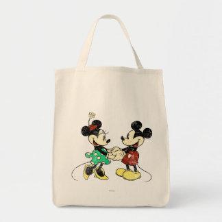 Vintage de Mickey y de Minnie el | Bolsa Tela Para La Compra