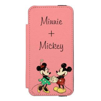 Vintage de Mickey y de Minnie el   Funda Billetera Para iPhone 5 Watson