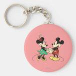 Vintage de Mickey y de Minnie el | Llavero Redondo Tipo Pin