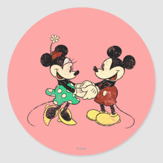 Vintage de Mickey y de Minnie el   Pegatina Redonda