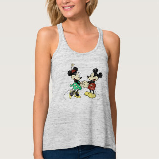 Vintage de Mickey y de Minnie el | Playera De Tirantes Cruzados Holgada