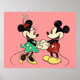 Vintage de Mickey y de Minnie el | Póster