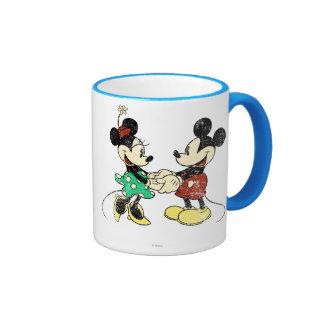 Vintage de Mickey y de Minnie el | Taza De Dos Colores