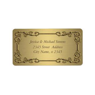 Vintage de moda elegante del oro etiqueta de dirección