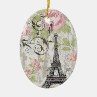 Vintage de moda femenino París de la torre Eiffel  Ornamento De Reyes Magos