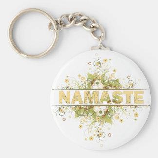 Vintage de Namaste floral Llavero Personalizado
