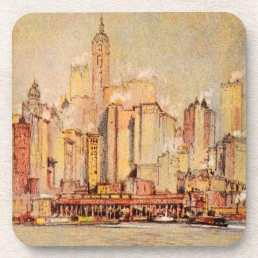 Vintage de New York City del distrito del envío de Posavasos De Bebida