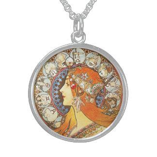 Vintage de Nouveau del arte del zodiaco del Collar De Plata Esterlina